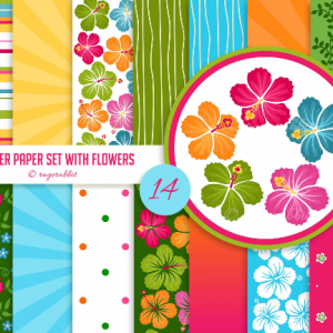 Hawaii Digital Paper - Hibiscus Flowers