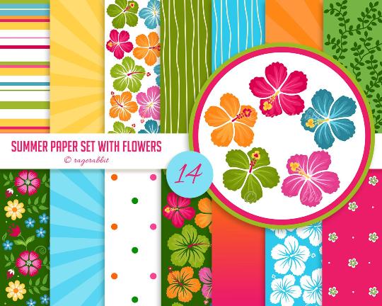 Hawaii Digital Paper - Hibiscus Flowers