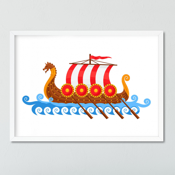Nursery Print Viking Ship