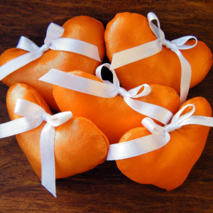 Stuffed Orange Handmade Hearts