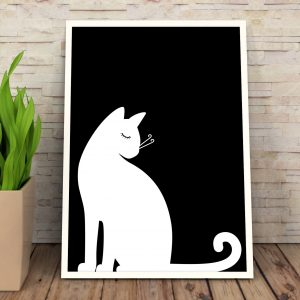 Printable Black and White Cat Wall Art