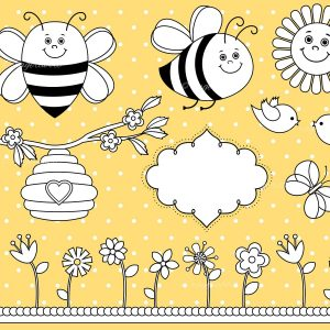 Bee Clip Art Stamps