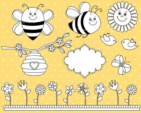Bee Clip Art Stamps