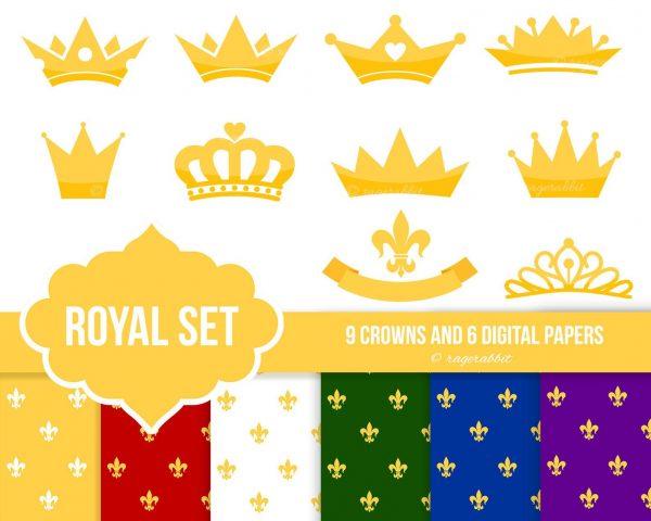 crown shapes and digital royal paper set