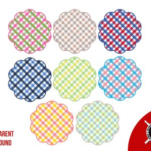 Gingham Pattern 8 Frames Scalloped Shaped Circles