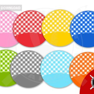 Fake Patchwork Circles with gingham pattern