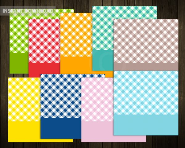Gingham Squares SVG Files with Banners