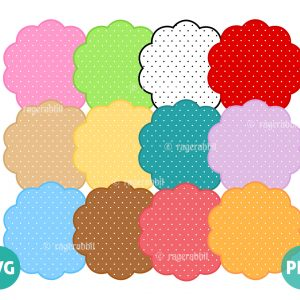 Polka Dots Pattern on 12 Scalloped Frames