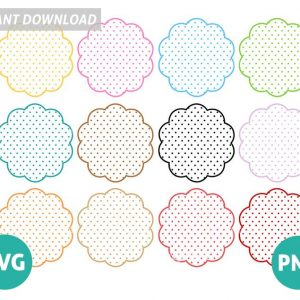 Set of 12 Scalloped polka dots frames