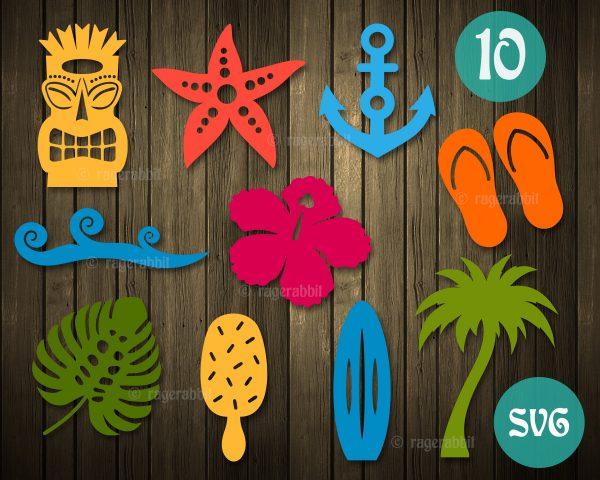 Beach Elements icons SVG cricut files