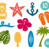 Icon Set of Summer Beach Elements SVG Cut Files
