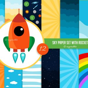 Rocket Clip art with Sky Paper Set