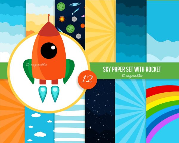 Rocket Clip art with Sky Paper Set