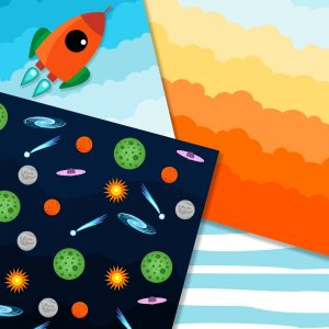 Rocket illustration with digital paper set