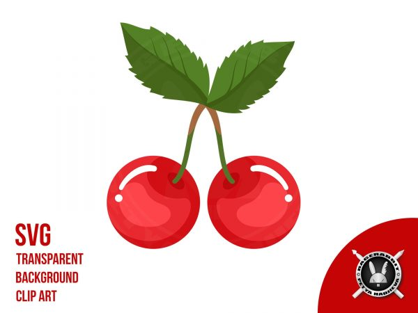 Cherry fruit with leaves clip art vector illustration
