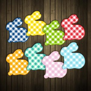 Gingham Pattern Rabbit Silhouettes SVG Vector Files