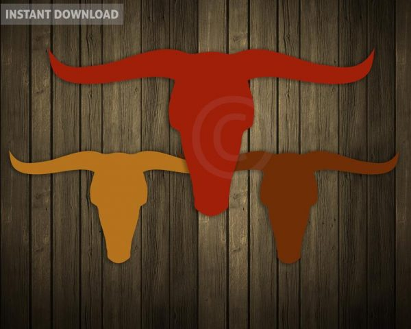 Vector illustrations of rustic longhorn silhouettes and shapes