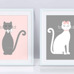 Wall Art Prinrable Digital Illustrations of Pink and Gray Cats