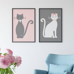 Pink and Gray Cats Wall Art Printable Digital Illustration