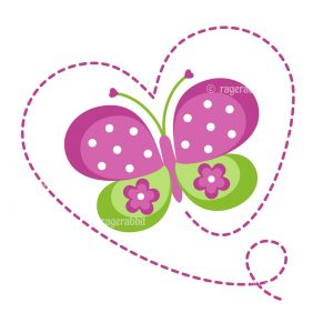 Vector Files of Purple Butterfly with Heart Shape Stitches