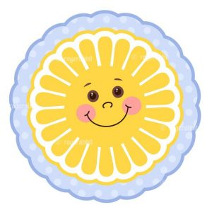 Smiling Cute Sun Illustration with polka Dots Frame