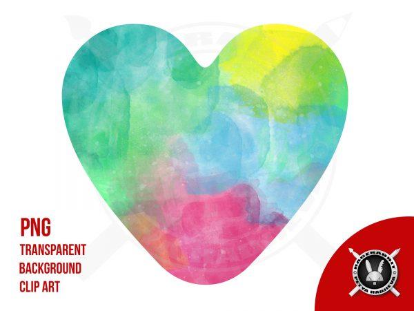 Heart Shape Rainbow Watercolour Pattern