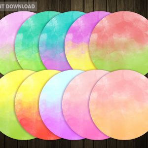 Circle Banners Watercolour Ombre Pattern