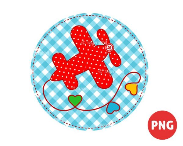 Valentine's Day Airplane on Stitched Blue Gingham Circle