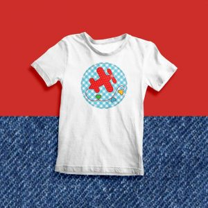 Red Polka Dots Airplane on Stitched Blue and White Gingham Circle